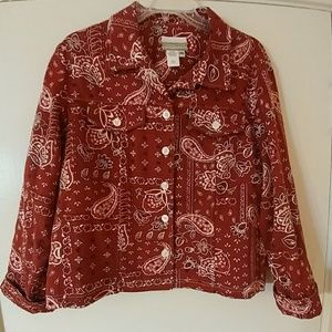 Coldwater Creek Red Paisley Bandana Shirt Jacket M